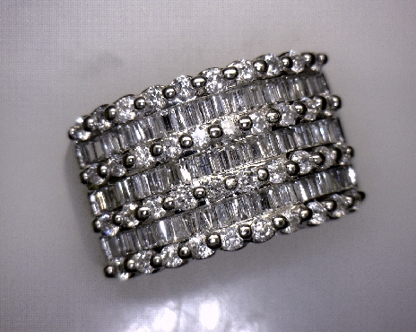 ESTATE 14kW 3.30 ctw Round Brilliant (Qty: 40) & Straight & Tapered Baguette (Qty: 54) Diamond Co...