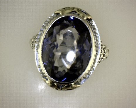 ESTATE 14kTT Antique Die Struck Synthetic Sapphire & Seed Pearl Ring