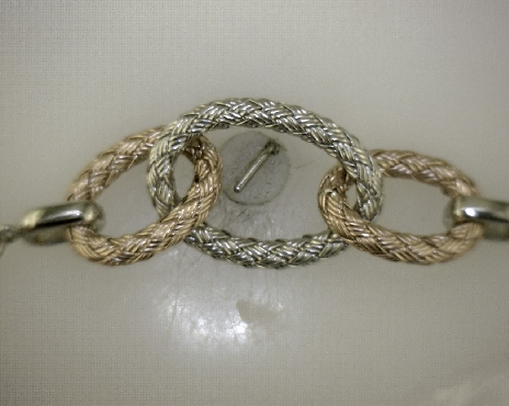 Sterling Silver 42   Oval Rose & White Link Element Necklace